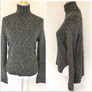 ZARA Gray Turtleneck Flare Sleeve Slouchy Sweater